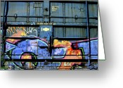 Tag Art Greeting Cards - Trains On Trains Greeting Card by Donna Blackhall