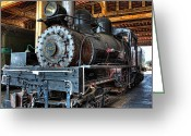 Roundhouse Greeting Cards - Trains - Steam Locomotive 1925 - side Greeting Card by Dan Carmichael