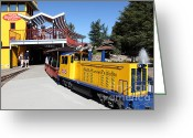 Amusement Parks Greeting Cards - Traintown Sonoma California - 5D19236 Greeting Card by Wingsdomain Art and Photography