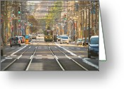 Layer Greeting Cards - Tram  Greeting Card by Kam Chuen Dung