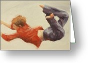 Kids At Play Greeting Cards - Trampoline Boy Part1 Greeting Card by Pauline Adair
