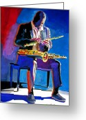 Featured Greeting Cards - Trane - John Coltrane Greeting Card by David Lloyd Glover
