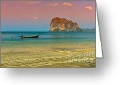 Moored Greeting Cards - Trang LongBoat Greeting Card by Adrian Evans
