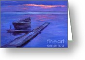 Sunset Drawings Greeting Cards - Tranquil boat sunset painting Greeting Card by Svetlana Novikova