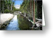 Pine Trees Painting Greeting Cards - Tranquil Forest Greeting Card by Elizabeth Robinette Tyndall