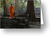Ancient Ruins Greeting Cards - Tranquil Surroundings Cambodia Greeting Card by Bob Christopher