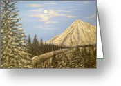 Snowy Night Greeting Cards - Tranquility Greeting Card by Irina Astley