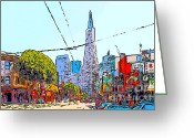 Little Italy Greeting Cards - Transamerica Pyramid Through North Beach San Francisco Greeting Card by Wingsdomain Art and Photography