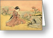 Hair Ornaments Greeting Cards - Transformation of Kikujiro 1765 Greeting Card by Padre Art