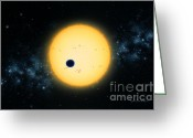 Extrasolar Planet Greeting Cards - Transit of HD 209458 Greeting Card by Lynette Cook