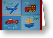 Childrens Artwork Drawings Greeting Cards - Transportation modes Greeting Card by Valerie Chiasson-Carpenter