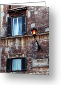 Window Prints Posters Greeting Cards - Trastevere Greeting Card by John Rizzuto