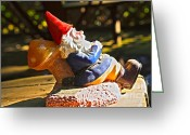 Gnome Greeting Cards - Travel Gnome Sunning Greeting Card by Cheryl Young