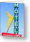 Welcome Signs Greeting Cards - Travelers Motel Tulsa Oklahoma Greeting Card by Wingsdomain Art and Photography