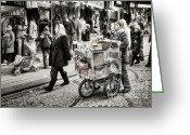 Busy City Greeting Cards - Traveling Vendor Greeting Card by Joan Carroll