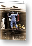 Overalls Greeting Cards - Traversing the Cab Greeting Card by Graeme Pettit