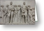 Alamo Greeting Cards - Travis and Crockett on Alamo Monument Greeting Card by Carol Groenen