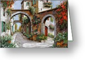 Street Greeting Cards - Tre Archi Greeting Card by Guido Borelli