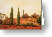 Guido Tapestries Textiles Greeting Cards - Tre Case Tra I Papaveri Greeting Card by Guido Borelli