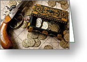 Coin Greeting Cards - Treasure box with old pistol Greeting Card by Garry Gay