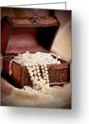 Pearl Necklace Greeting Cards - Treasure chest Greeting Card by Gabriela Insuratelu
