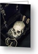 Death Head Greeting Cards - Treasure Chest Greeting Card by Joana Kruse