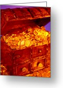 Boxes Greeting Cards - Treasure chest with gold coins Greeting Card by Garry Gay