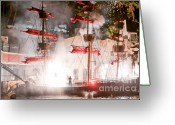 "\""pirate Ship\\\"" Greeting Cards - Treasure Island Flashes Greeting Card by Andy Smy"