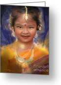 Portraits Mixed Media Greeting Cards - Treasure Of South Asia Greeting Card by Bob Salo