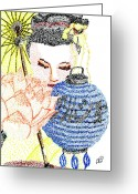 Treasures Drawings Greeting Cards - Treasures of Japan Greeting Card by Tiphanie Erickson