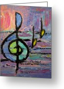 Music Notes Greeting Cards - Treble Clef Greeting Card by Anita Burgermeister