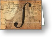 Violin Digital Art Greeting Cards - Treble Clef Greeting Card by Michal Boubin