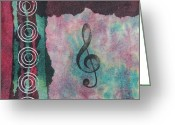 Gift For A Mixed Media Greeting Cards - Treble Clef Tie Dye Mixed Media Art Collage Greeting Card by Karen Pappert