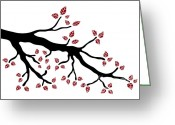 Whimsical Drawings Greeting Cards - Tree branch Greeting Card by Frank Tschakert