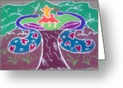Color Ceramics Greeting Cards - Tree Design Greeting Card by Joni Mazumder