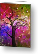 Color Image Painting Greeting Cards - Tree Fantasy2 Greeting Card by Ramneek Narang