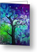 Color Image Painting Greeting Cards - Tree Fantasy3 Greeting Card by Ramneek Narang