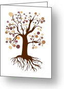 Happy Drawings Greeting Cards - Tree Greeting Card by Frank Tschakert