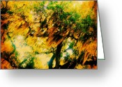 Sky Greeting Cards - #tree #green #yellow #colourful #sc Greeting Card by Katie Williams