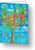 Childsroom Greeting Cards - Tree House Greeting Card by Sonja Mengkowski