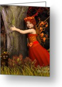 3d Graphic Greeting Cards - Tree Hug Greeting Card by Jutta Maria Pusl
