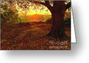 Autumnal Digital Art Greeting Cards - Tree Leaves Greeting Card by Robert Foster
