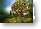 Grapes Greeting Cards - Tree Of Abundance Greeting Card by Carol Cavalaris