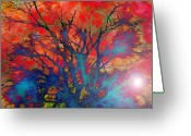 Ghosts Greeting Cards - Tree of Ghosts Greeting Card by Linnea Tober