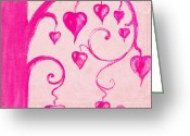 Red Pastels Greeting Cards - Tree Of Heart Painting On Paper Greeting Card by Setsiri Silapasuwanchai