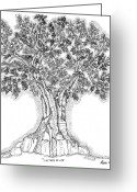 Hand Drawings Greeting Cards - Tree Of Life 1 Greeting Card by Glenn McCarthy Art and Photography