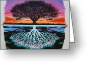 Sunset Drawings Greeting Cards - Tree Of Life And Negative Greeting Card by Brian Schuster