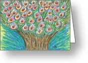 Fun Pastels Greeting Cards - Tree of Life Greeting Card by Cathy Bishop