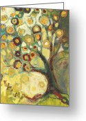 Abstract Greeting Cards - Tree of Life in Autumn Greeting Card by Jennifer Lommers
