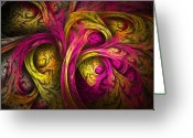Trippy Greeting Cards - Tree of Life in Pink and Yellow Greeting Card by Tammy Wetzel